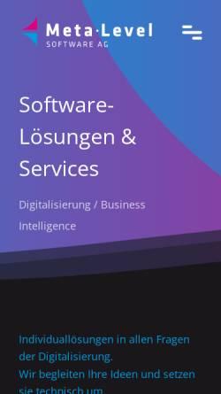Vorschau der mobilen Webseite www.meta-level.de, Meta-Level Software AG
