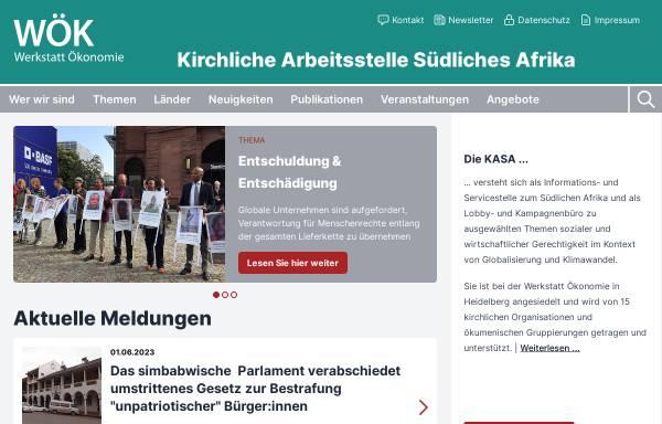Vorschau von www.kasa.de, Kirchliche Arbeitsstelle Südliches Afrika (KASA)