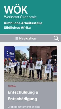 Vorschau der mobilen Webseite www.kasa.de, Kirchliche Arbeitsstelle Südliches Afrika (KASA)