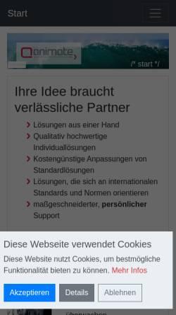 Vorschau der mobilen Webseite www.animate.de, Animate - Agentur für interaktive Medien GmbH