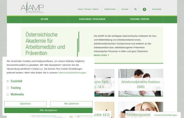 Vorschau von www.aam.at, Österreichische Akademie für Arbeitsmedizin [AAm]