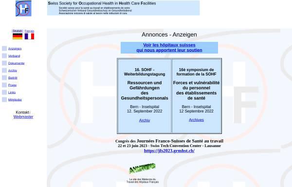 Vorschau von www.sohf.ch, Schweizer Verband der Betriebsärzte im Gesundheitsdienst (SOHF)