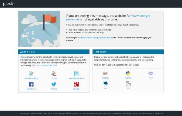 Vorschau von www.energie-server.de, Plattform für erneuerbare Energien und energie-effizientes Bauen und Sanieren mit Vorschau der Messen und Kongresse