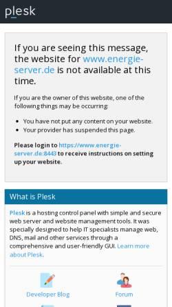 Vorschau der mobilen Webseite www.energie-server.de, Plattform für erneuerbare Energien und energie-effizientes Bauen und Sanieren mit Vorschau der Messen und Kongresse