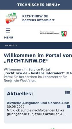 Vorschau der mobilen Webseite recht.nrw.de, recht.nrw.de