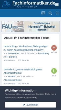 Vorschau der mobilen Webseite www.fachinformatiker.de, Fachinformatiker.de
