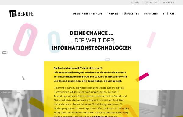 Vorschau von www.it-berufe.de, Informationssammlung zu IT-Berufen