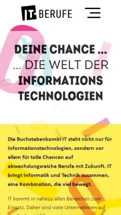 Vorschau der mobilen Webseite www.it-berufe.de, Informationssammlung zu IT-Berufen
