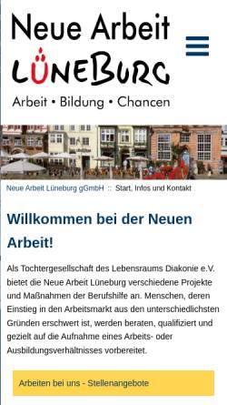 Vorschau der mobilen Webseite www.neue-arbeit-lueneburg.de, Neue Arbeit Lüneburg gGmbH