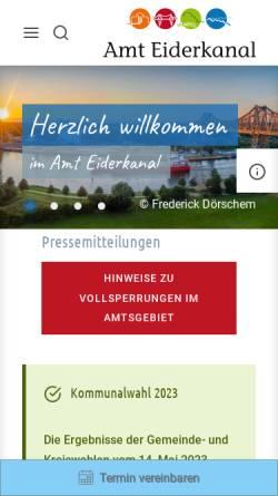 Vorschau der mobilen Webseite www.amt-eiderkanal.de, Amt Eiderkanal