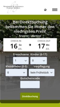 Vorschau der mobilen Webseite www.winzerhof-schmitt.de, Winzerhof und Gästehaus Schmitt