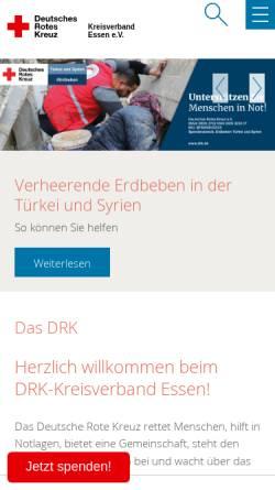 Vorschau der mobilen Webseite www.drk-essen.de, DRK Kreisverband Essen e.V. - Rotkreuzbereitschaft Rettungsdienst / Krankentransport