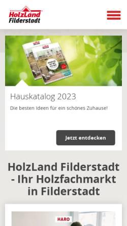 Vorschau der mobilen Webseite www.holzland-filderstadt.de, HolzLand Filderstadt GmbH