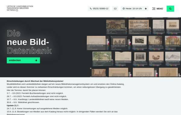Vorschau von www.llb-detmold.de, Lippische Landesbibliothek Detmold