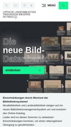 Vorschau der mobilen Webseite www.llb-detmold.de, Lippische Landesbibliothek Detmold