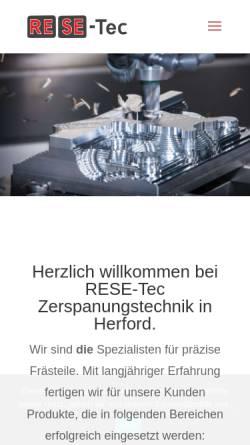 Vorschau der mobilen Webseite www.resetec.de, RESE Tec GmbH