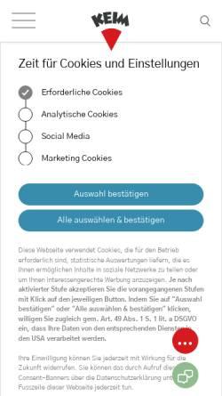 Vorschau der mobilen Webseite www.keimfarben.de, Keimfarben GmbH