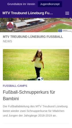 Vorschau der mobilen Webseite www.mtv-treubund-fussball.de, MTV Treubund Lüneburg 1848 - Junioren