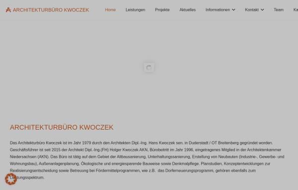 Vorschau von www.kwoczek.de, Architekturbüro Kwoczek