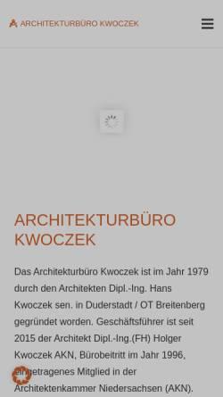 Vorschau der mobilen Webseite www.kwoczek.de, Architekturbüro Kwoczek