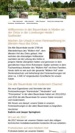 Vorschau der mobilen Webseite www.bauernkate-mueden.de, Ferienwohnungen Alte Bauernkate