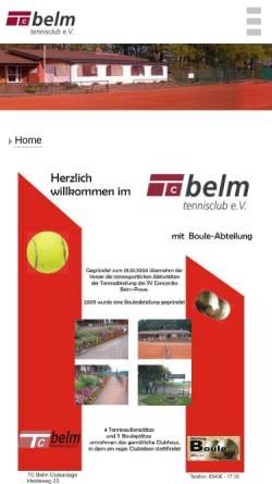 Vorschau der mobilen Webseite tennis-belm.de, Tennisclub Belm e.V.