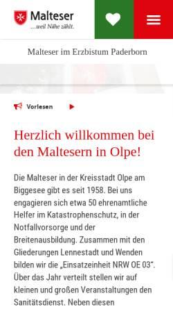Vorschau der mobilen Webseite www.malteser-olpe.de, Malteser Hilfsdienst, Ortsgruppe Olpe