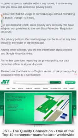 Vorschau der mobilen Webseite www.jst.de, J.S.T. Deutschland GmbH