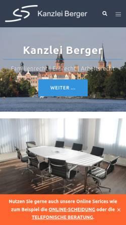 Vorschau der mobilen Webseite www.kanzlei-berger.de, Rechtsanwaltskanzlei Berger