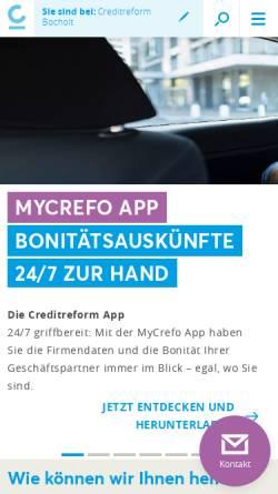 Vorschau der mobilen Webseite www.creditreform-bocholt.de, Creditreform Bocholt Isert KG