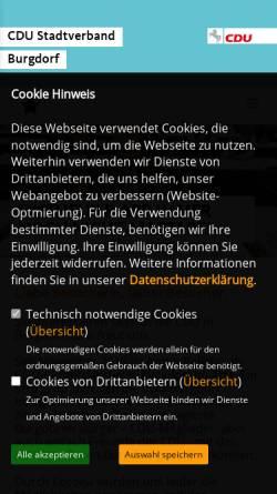 Vorschau der mobilen Webseite www.cdu-burgdorf.de, CDU Burgdorf
