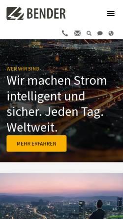 Vorschau der mobilen Webseite www.bender-de.com, Bender GmbH & Co. KG