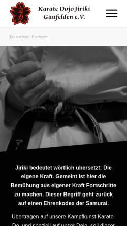 Vorschau der mobilen Webseite www.karate-gaeufelden.de, Karate Dojo Jiriki Gäufelden e.V.