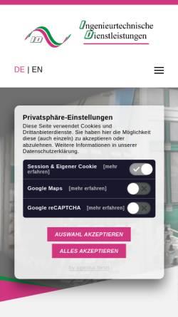 Vorschau der mobilen Webseite www.id-lindner.de, ID Ingenieurtechnische Dienstleistungen, Inh. Dipl.-Ing. (FH) Gallus Lindner
