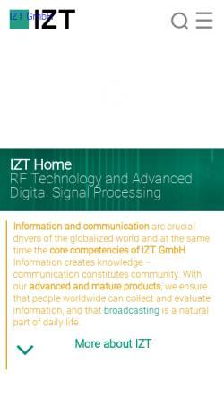 Vorschau der mobilen Webseite www.izt-labs.de, Innovationszentrum für Telekommunikationstechnik GmbH IZT