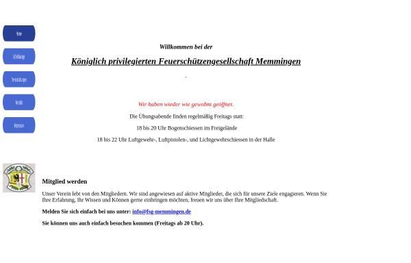 Vorschau von www.fsg-memmingen.de, Königlich privilegierte Feuerschützengesellschaft 1414 Memmingen