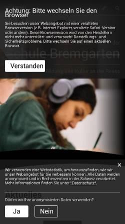 Vorschau der mobilen Webseite www.schule-bremgarten.ch, Schule Bremgarten