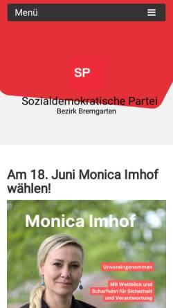 Vorschau der mobilen Webseite www.sp-bezirk-bremgarten.ch, SP Bezirk Bremgarten