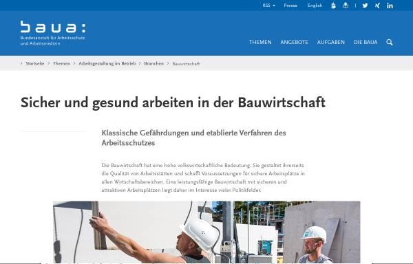 Vorschau von www.baua.de, Bundesanstalt für Arbeitsschutz und Arbeitsmedizin [BAuA] - Baustellen