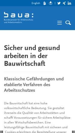 Vorschau der mobilen Webseite www.baua.de, Bundesanstalt für Arbeitsschutz und Arbeitsmedizin [BAuA] - Baustellen