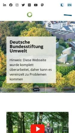 Vorschau der mobilen Webseite www.dbu.de, Deutsche Bundesstiftung Umwelt