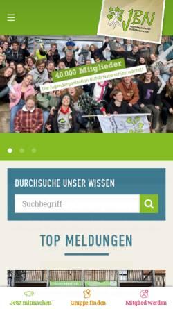 Vorschau der mobilen Webseite www.jbn.de, Jugendorganisation Bund Naturschutz