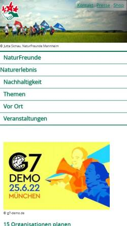 Vorschau der mobilen Webseite www.naturfreunde.de, NaturFreunde Deutschlands e.V.