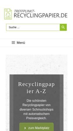 Vorschau der mobilen Webseite www.treffpunkt-recyclingpapier.de, Treffpunkt Recyclingpapier