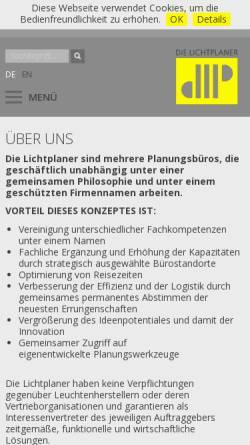 Vorschau der mobilen Webseite www.lichtplaner.com, Die Lichtplaner: Klaus Hochschwarzer, Thorsten Braun, Jörg Klasen