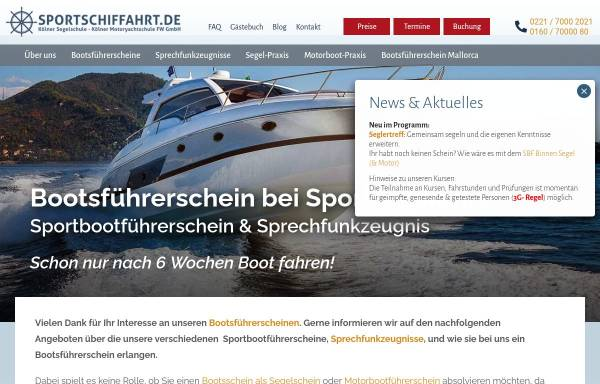Vorschau von www.sportschiffahrt.de, Kölner Segel- und Motoryachtschule