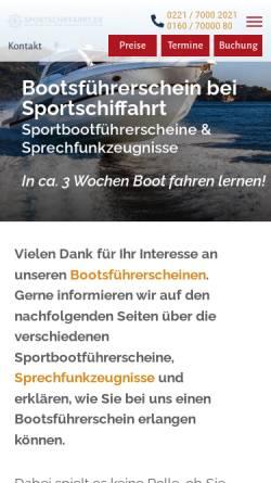 Vorschau der mobilen Webseite www.sportschiffahrt.de, Kölner Segel- und Motoryachtschule
