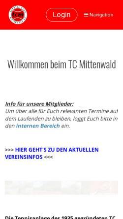 Vorschau der mobilen Webseite www.tc-mittenwald.de, Tennisclub Mittenwald e. V.