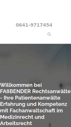 Vorschau der mobilen Webseite www.fassbender-rechtsanwaelte.de, Fassbender, Anita