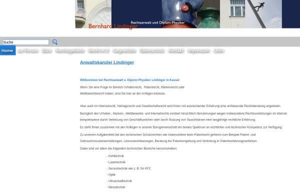 Vorschau von www.ra-lindinger.de, Rechtsanwalt und Diplom Physiker Bernhard Lindinger